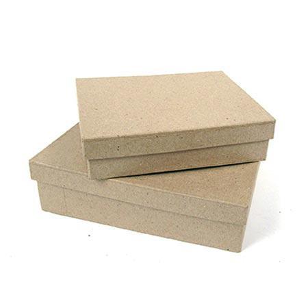 Support à décorer en papier mâché - Boîte rectangle (XXS) - 10 x 7 x 2,5 cm