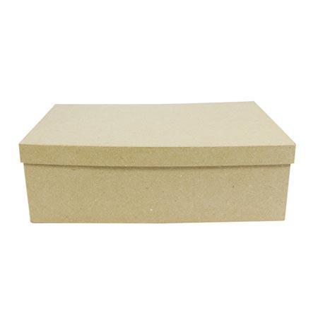 Support à décorer en papier mâché - Boîte rectangle (XXS) - 13,5 x 22 x 5,5 cm