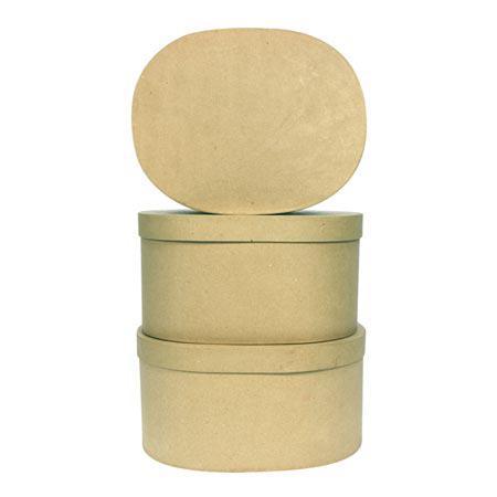 Boîte ovale en papier-mâché - taille aléatoire