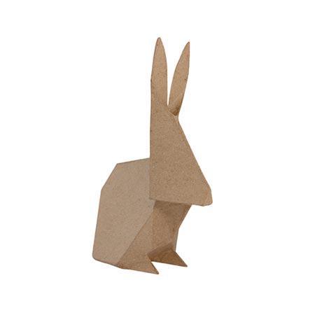 Lapin Origami (S) en papier mâché - 12 x 6,5 x 19 cm