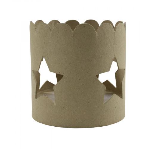 Bougeoir en papier mâché - découpe étoile - 12 x 12 x 12 cm