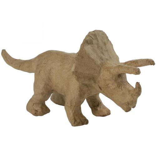 Triceratops en papier mâché - 9 x 19 x 6 cm