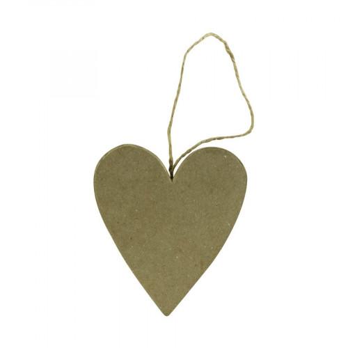 Cœur plat à suspendre en papier mâché - 7 x 8 x 1 cm