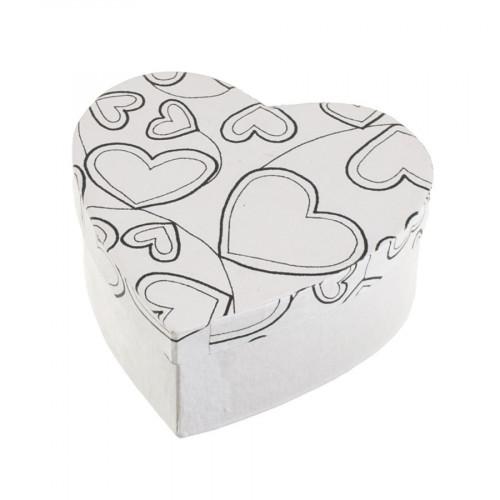 Boîte cœurs en papier mâché à colorier Doodle Art 11 x 11 x 5 cm