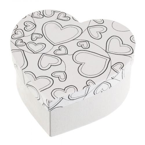 Boîte cœurs en papier mâché à colorier Doodle Art 15 x 15 x 7 cm