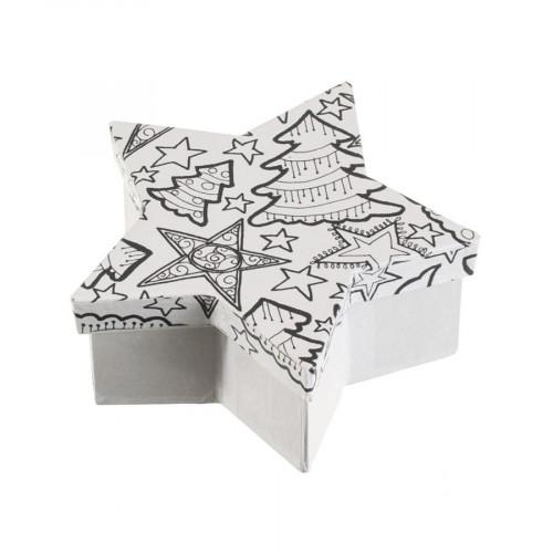 Boîte étoile en papier mâché à colorier Doodle Art 13 x 13 x 5 cm