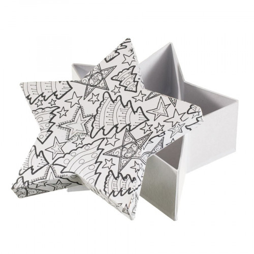 Boîte étoile en papier mâché à colorier Doodle Art 18 x 18 x 7 cm