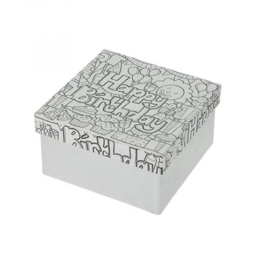 Boîte Happy Birthday en papier mâché à colorier Doodle Art 10 x 10 x 5 cm