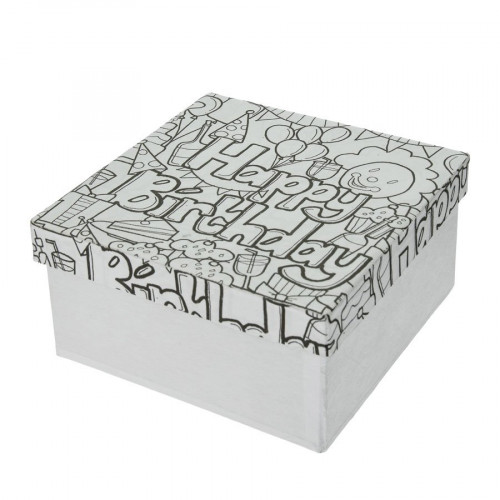 Boîte Happy Birthday en papier mâché à colorier Doodle Art 14 x 14 x 7 cm