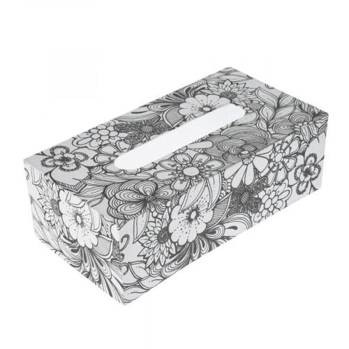 Boîte à mouchoir Aster en papier mâché à colorier Doodle Art 24 x 12,5 x 8 cm