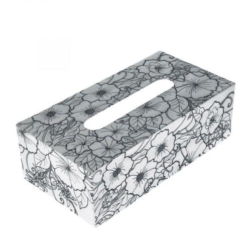 Boîte à mouchoir Hibiscus en papier mâché à colorier Doodle Art 24 x 12,5 x 8 cm