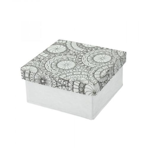 Boîte carrée en papier mâché à colorier Doodle Art 10 x 10 x 5 cm