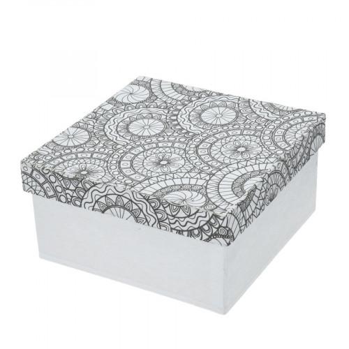 Boîte carrée en papier mâché à colorier Doodle Art 14 x 14 x 7 cm