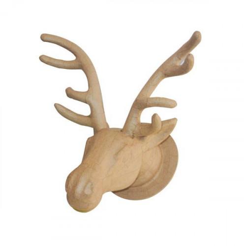 Tête de renne à suspendre en papier mâché - 27 x 38 x 39 cm
