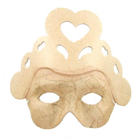 Masque cœur en papier mâché - 7 x 19,5 x 18,5 cm