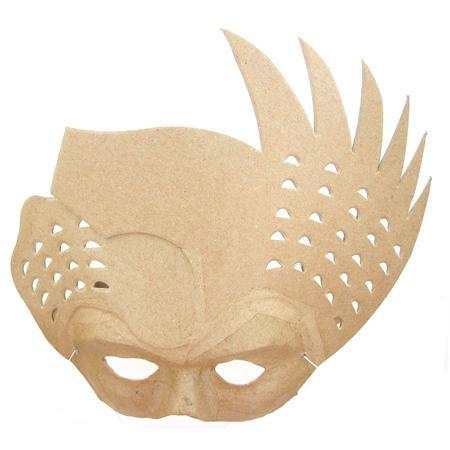 Masque oiseau en papier mâché - 8 x 25 x 25 cm