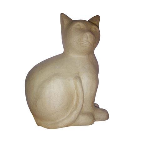 Support à décorer en papier mâché - Chat assis - h. 26 cm