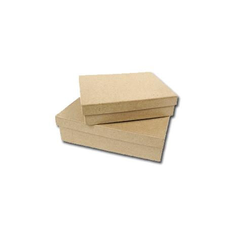 Boîte rectangulaire en papier mâché - 12 x 9 x 3,5 cm