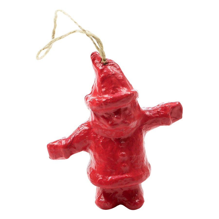 Père Noël à suspendre en papier mâché - 8 x 8 x 3,5 cm