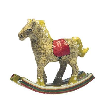 Support à décorer en papier mâché - Cheval à bascule - h. 11,5 cm