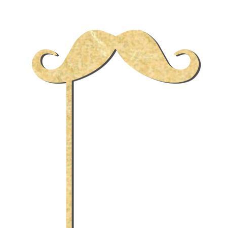 Sujet en bois médium - Photobooth Moustache gentleman - 18.5 x 5 cm