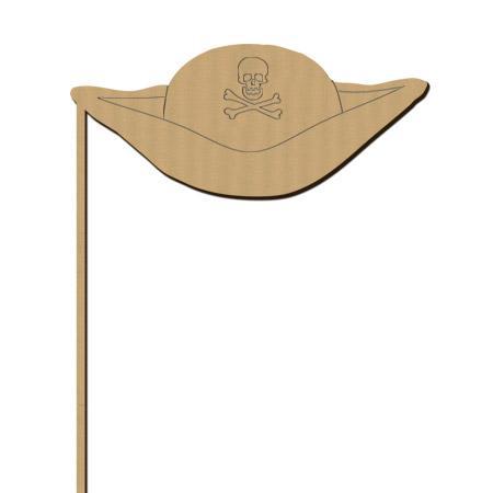 Sujet en bois médium - Photobooth Chapeau pirate - 17,6 x 25 cm
