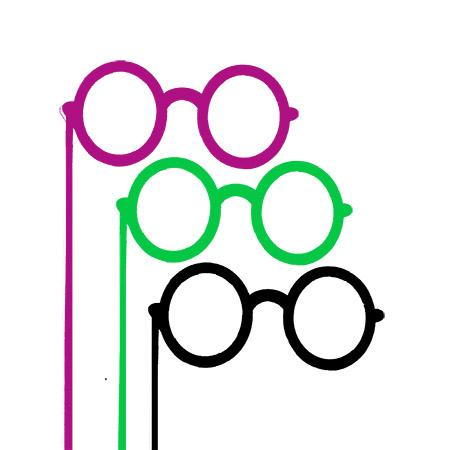 Sujet en bois médium - Photobooth Grosses lunettes rondes - 19 x 21,5 cm
