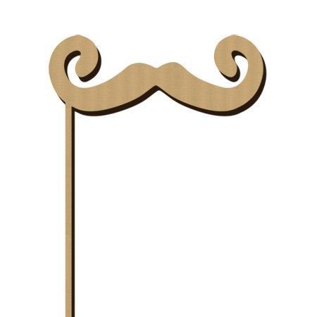Sujet en bois médium - Photobooth Moustache les bacchantes - 14,4 x 21,7 cm