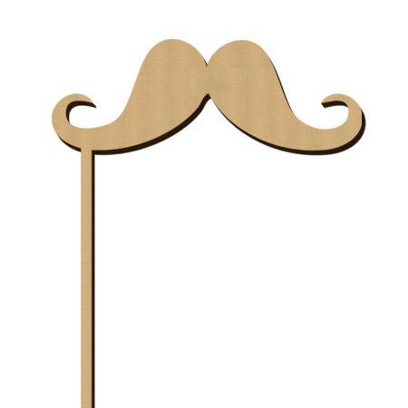 Sujet en bois médium - Photobooth Big moustache gentleman - 12 x 22,5 cm