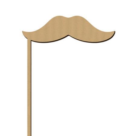 Sujet en bois médium - Photobooth Moustache lisse - 11,3 x 20 cm