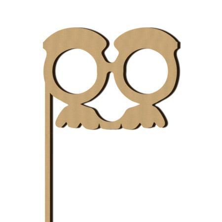 Sujet en bois médium - Photobooth Lunettes moustache - 11,5 x 28,3 cm