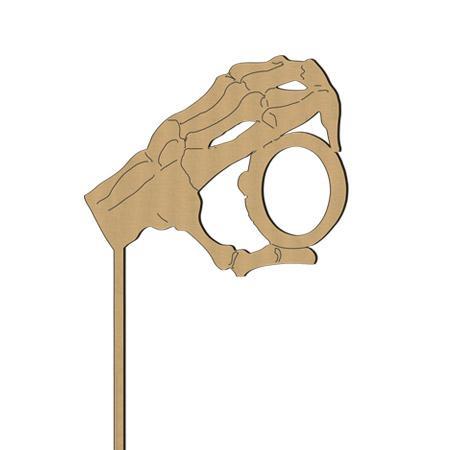 Sujet en bois médium - Photobooth Monocle squelette - 13,9 x 32,4 cm