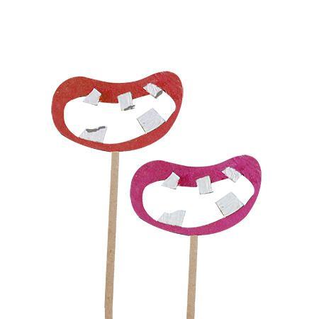 Sujet en bois médium - Photobooth Bouche dents cassées - 9,2 x 27,5 cm