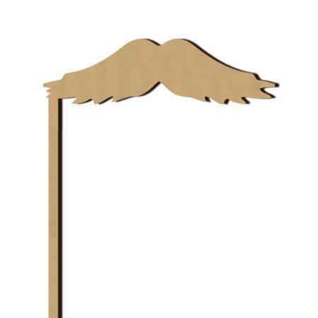 Sujet en bois médium - Photobooth Moustache bandit - 10 x 20 cm