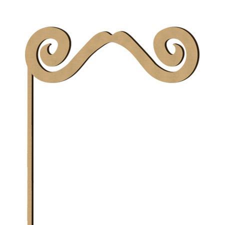 Sujet en bois médium - Photobooth Moustache enroulée - 25,7 x 13,5 cm