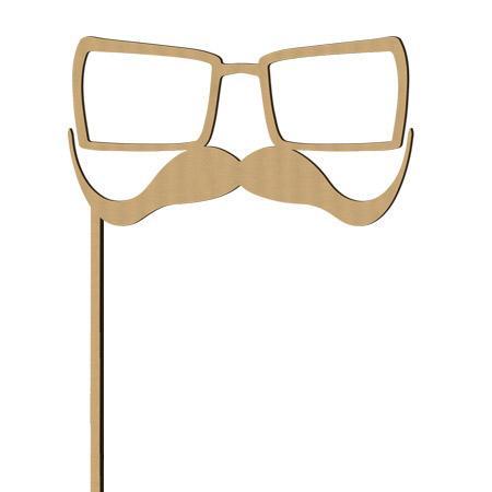 Sujet en bois médium - Photobooth Lunettes carrées big moustache - 25 x 15.5 cm
