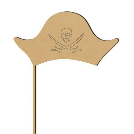 Sujet en bois médium - Photobooth Grand chapeau pirate - 33,5 x 22,7 cm