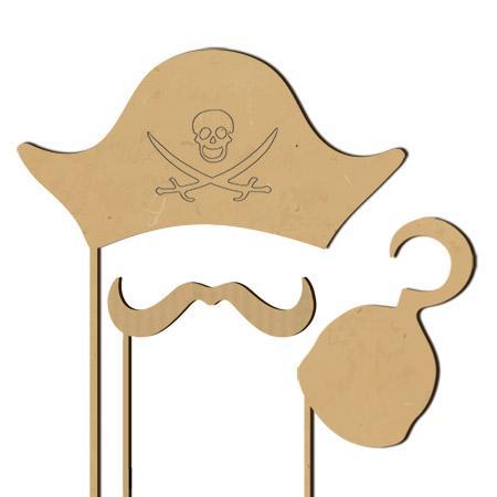 Sujet en bois médium - Photobooth Ass.3 pcs pirate chapeau - 33,5 x 22,6 cm le chapeau pirate