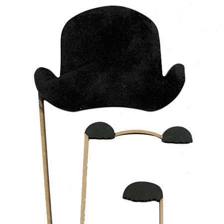 Sujet en bois médium - Photobooth Ass.3 Pcs Charlie Chaplin - 32*14,6 cm le chapeau