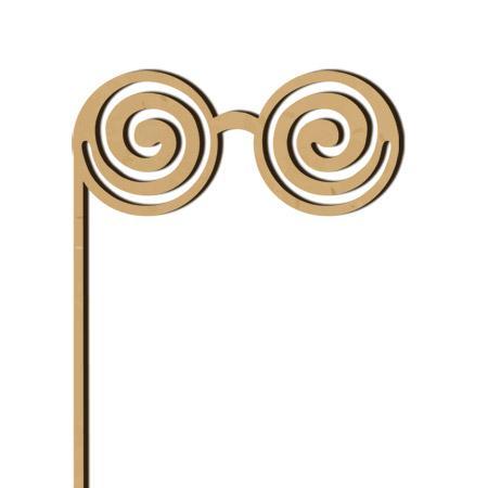 Sujet en bois médium - Photobooth Lunettes spirales - 21,5 x 16,4 cm