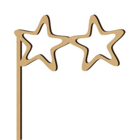 Sujet en bois médium - Photobooth Lunettes étoiles - 24 x 15 cm