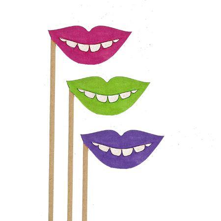 Sujet en bois médium - Photobooth Bouche petit sourire - 23,4 x 6,7 cm