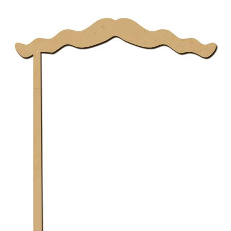 Sujet en bois médium - Photobooth Moustache ondulée - 25 x 15,4 cm