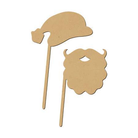 Sujet en bois médium - Photobooth Ass.chapeau et barbe du père-Noël - Dimensions du chapeau 25,4 x 16 cm