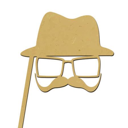 Sujet en bois médium - Photobooth Chapeau moustache - 27,8 x 24,4 cm