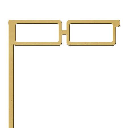 Sujet en bois médium - Photobooth Lunettes rectangles - 18,5 x 18,5 cm