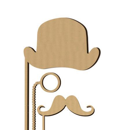 Sujet en bois médium - Photobooth Ass aristocrate - 26 x 14,5 cm le chapeau