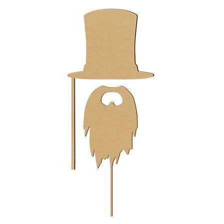 Sujet en bois médium - Photobooth Ass.2 Pcs Haut-de-forme et barbe - 28.5 x 14 cm la barbe