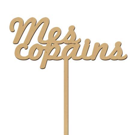Support en bois médium - Photobooth Mes copains - 20 x 22 cm