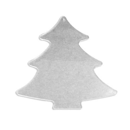 Support à décorer en plastique - Disque intercalaire sapin H. 10 cm - Transparent